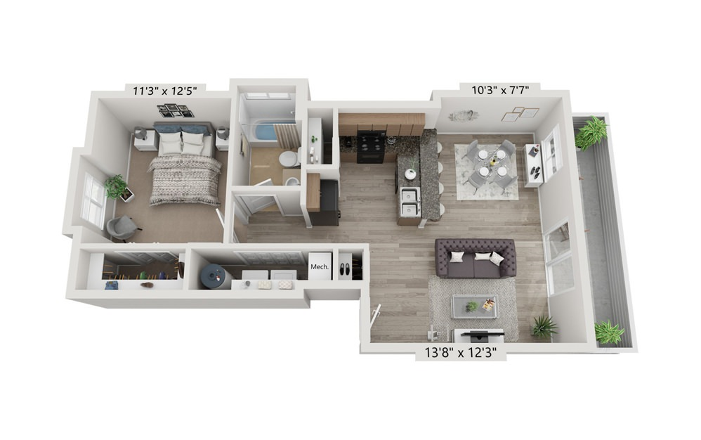 1x1 - 1 bedroom floorplan layout with 1 bath and 722 square feet (1st floor 2D)