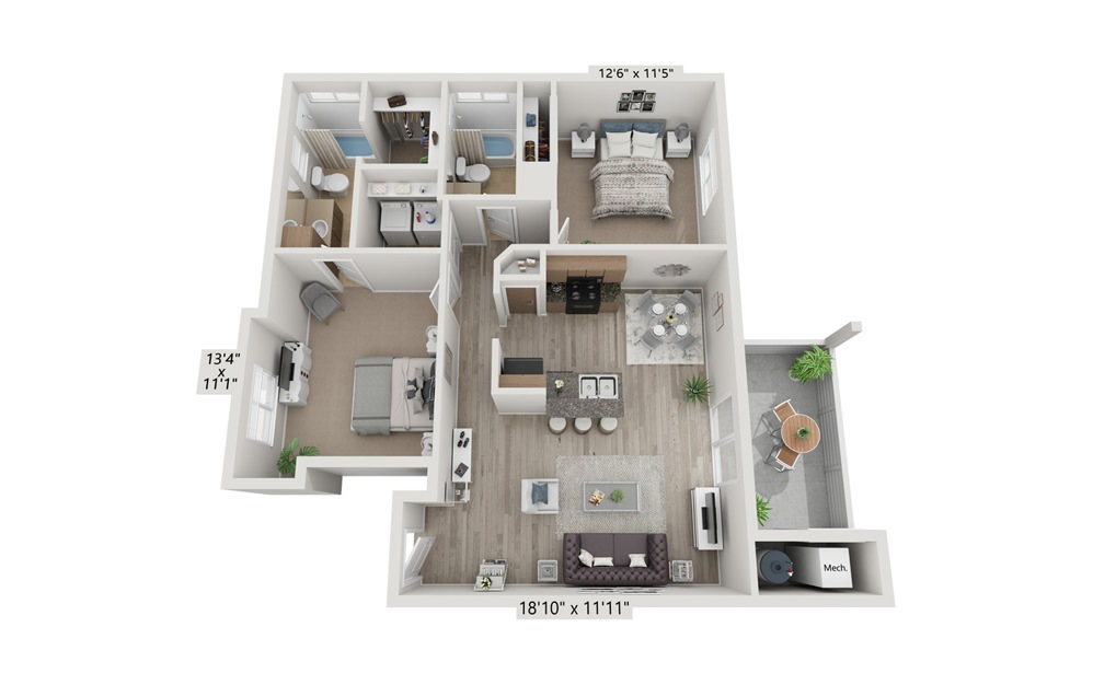 2x2 - 2 bedroom floorplan layout with 2 bath and 972 square feet (1st floor 2D)