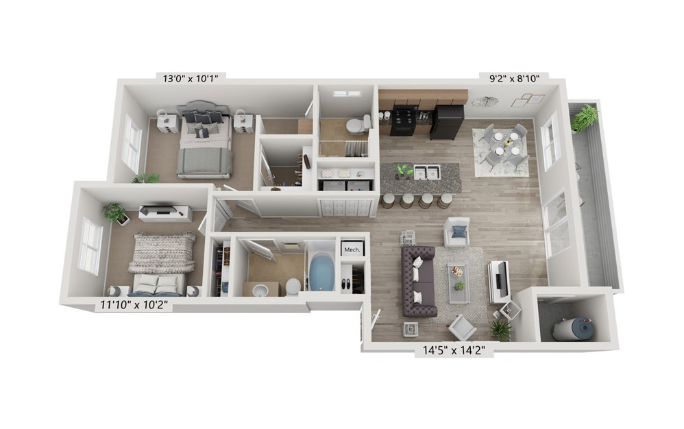 2x2 A - 2 bedroom floorplan layout with 2 bath and 1014 square feet (1st floor 2D)