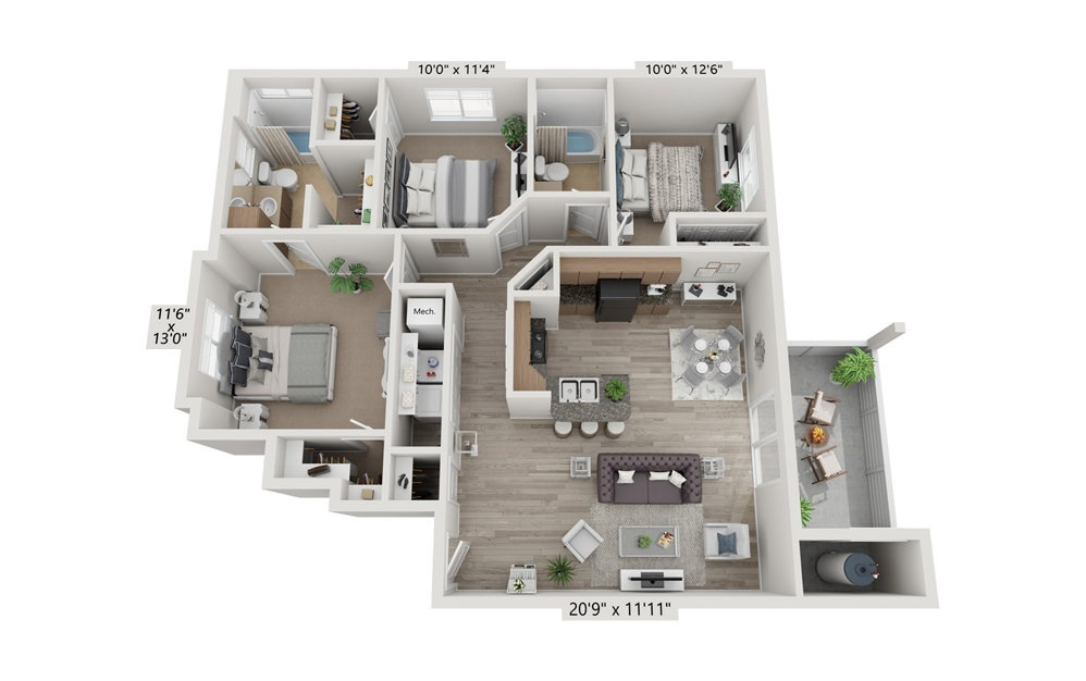 3x2 - 3 bedroom floorplan layout with 2 bath and 1171 square feet (1st floor 2D)