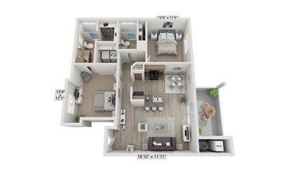 2x2 - 2 bedroom floorplan layout with 2 bath and 972 square feet