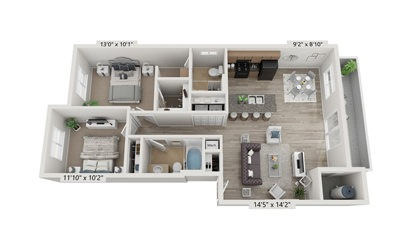 2x2 A - 2 bedroom floorplan layout with 2 bath and 1014 square feet